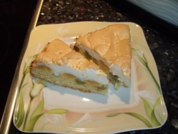 Stachelbeer-Kuchen mit Baiserdecke - Rezept