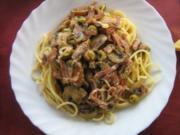 Spaghetti mit Roquefort-Champignon-Sauce - Rezept