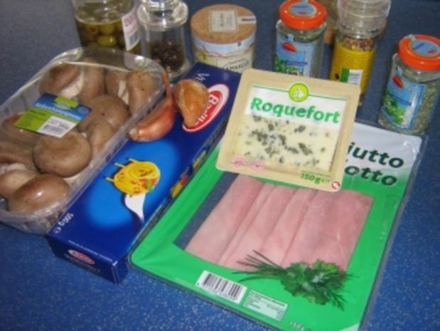Spaghetti mit Roquefort-Champignon-Sauce - Rezept - Bild Nr. 2