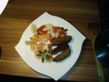 Riesengarnelen mit Gemüsereis - Rezept