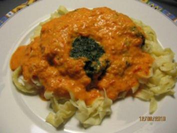 Spinat- Paprika- Pasta - Rezept