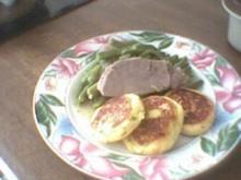 Grüne Bohnen mit Rindfleisch und Kartoffeltaler - Rezept