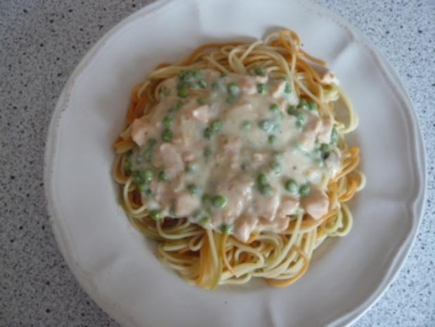 Lachs - Erbsen Soße zu Spaghetti - Rezept