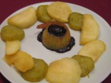 Apfel- und Gurkenscheiben karamellisiert und gegrillt mit Kakao-Nougat-Feigencreme - Rezept