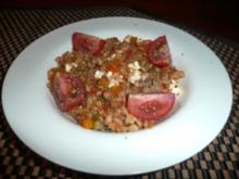Buntes Gemüsepfännchen mit Tomatensoße und Ebly - Rezept