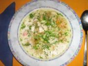 Gemüse-Reis-Süpple mit Fleischeinlage - Rezept