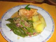 Puten-Rouladen mit Speck-Böhnle - Rezept