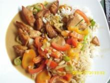 Fleisch:  Hähnchen in Kokossoße mit Galgant und Paprika - Rezept