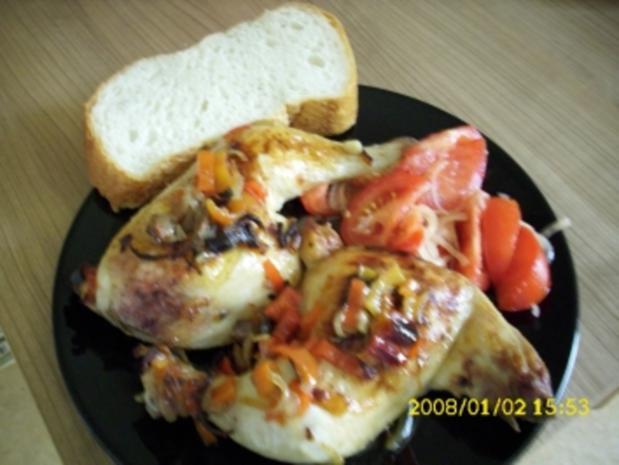 Meine Hähnchenschenkel  aus dem Backofen Mit  Tomatensalat und türk. Weißbrot - Rezept
