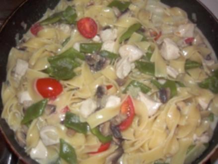 Hähnchen-Nudeln mit Bohnen, Champignons und Tomaten - Rezept