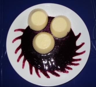 Vanillepudding-Törtchen auf Fruchtspiegel - Rezept