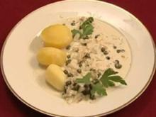 Seezunge mit Kapern, Calvados, Sahne und Kartoffeln (Egon Wellenbrink) - Rezept