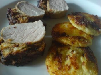 Schweinefilet mit Tomate-Basilikum-Kruste und Polentaplätzchen - Rezept