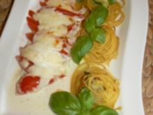 Überbackenes Pangasiusfilet mit Zucchini-Spaghettinest an Limettensauce - Rezept