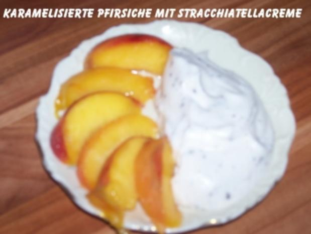 Süßspeise - Karamelisierte Pfirsichspalten auf Stracchiatellacreme - Rezept - Bild Nr. 3