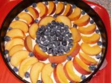 Pfirsich-Heidelbeer-Quark-Torte - Rezept