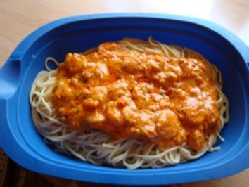 Spaghetti mit Garnelen und Sahne -Knoblauch-Sauce - Rezept
