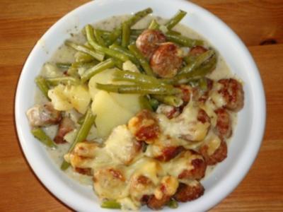 Grüne Bohnen - Kartoffelpfanne mit Hackfleisch - Rezept
