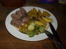 Hauptgericht / Wildgericht: Filet mit Kartoffel-Wedges - Rezept