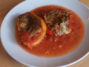 Paprika mit Kartolffel-Hack Füllung - Rezept
