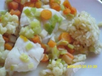 Fisch:  Zanderfilet in der Folie mit Gemüse und Zitronenrisotto - Rezept