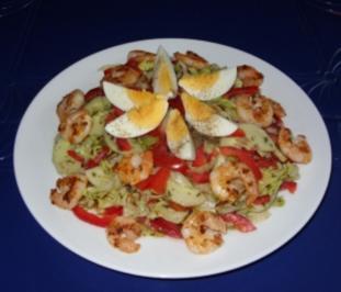 Mein  köstlicher Abendsalat mit Garnelen - Rezept