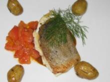 Kross gebratenes Doradenfilet mit Safrantomaten in Chorizosud (Thorsten) - Rezept