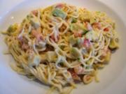 Avocado-Tomatensauce auf selbstgemachten Spaghetti - Rezept