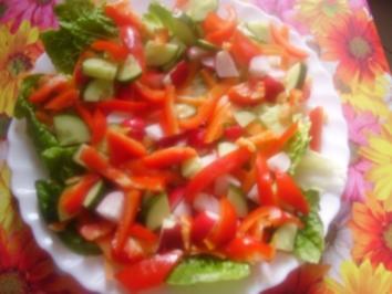 Salat mit Orangen-Mango-Dressing - Rezept