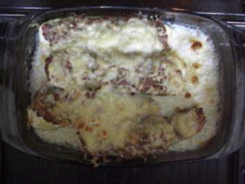 Auflauf-Zuchini mit Brät überbacken dazu Risi-Bisi Reiskugeln - Rezept