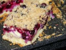 Blech: Blaubeer-Hefe-Schmandkuchen mit Streuseln - Rezept