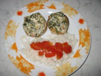 Champignons mit Spinatfüllung - Rezept