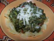 Nudeln - Tagliatelle mit Spinat, Hackfleisch und Gorgonzola - Rezept