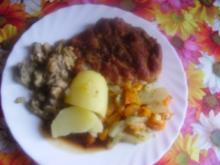 Kotelett-Kammscheiben-Champignons-Kartoffeln - Rezept