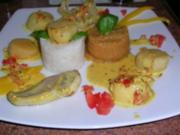 Jakobsmuscheln und Seeteufel an roten Linsen mit Reis und Safran-Weißwein-Sauce - Rezept