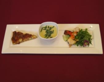 Potage parisienne, Quiche Lorraine, Salade verte a l´huile de basilic - Rezept