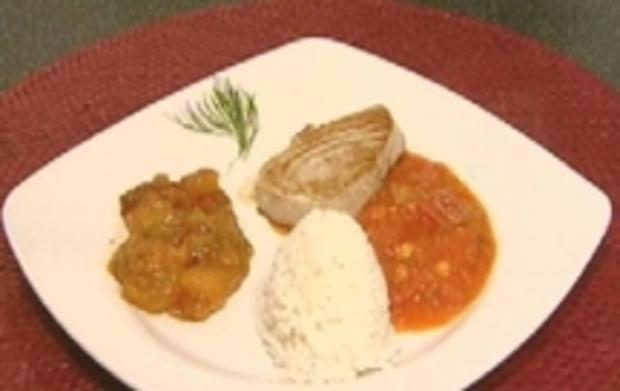 tunfischfilet mit scharfer tomaten chili so e und mangochutney rezept. Black Bedroom Furniture Sets. Home Design Ideas