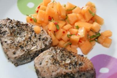 Thunfischsteak mit Melonen - Salsa - Rezept