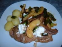 Fleisch  : Kotelett mit Apfel-Lauch -Gemüse - Rezept