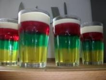 Dreierlei Wackelpudding mit Vanillesauce - Rezept