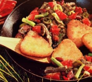 Fleischpfanne mit Rösti - Rezept