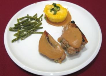 An american trilogy - Stuffed peanut pork with beans and rocking polenta - Rezept