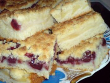 Sauerkirsch-Apfel-Kuchen mit Streusel - Rezept