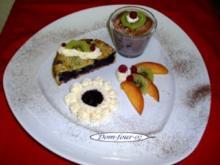 Dreierlei von der Heidelbeere   gebacken, mit Schaum, pürierte , - Rezept