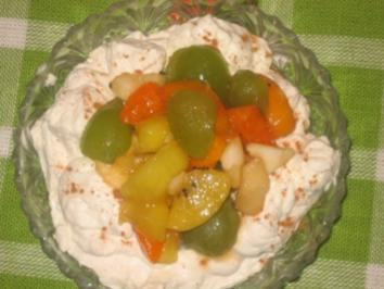 Dessert: Marsala-Obst auf Zimtsahne - Rezept