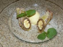 Bananen-Nutella Crepe an Vanilleeis - Rezept