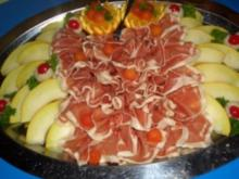 Gäste-Schinkenplatte mit Melonen - Rezept