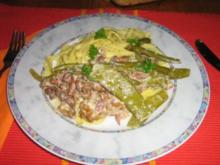 Pfifferling-Bohnen-Gemüse an Tagliatelle - Rezept