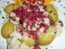 Blumenkohl - Kartoffeln in holländischer Sauce mit Schinken und Ei - Rezept