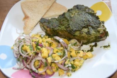 Koriander - Thunfischsteak mit Mango Salsa - Rezept